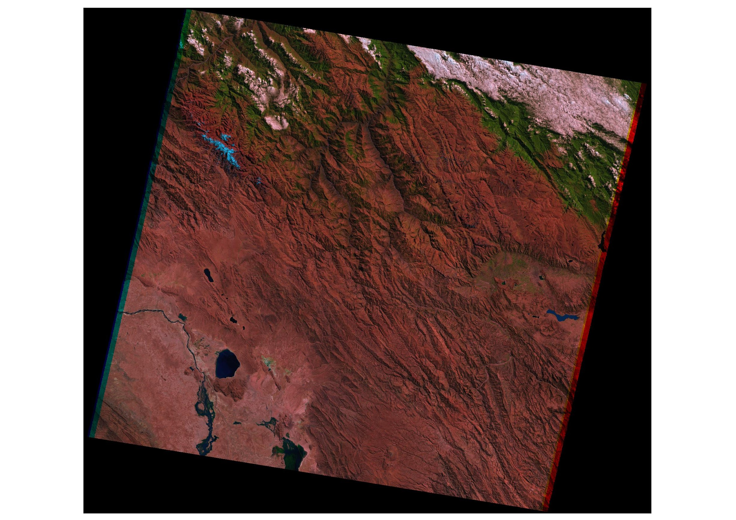 Figure 2: This false-colour RGB image was created by using spectral bands of SWIR, NIR, and Red of the Landsat 05 (TM) satellite image (footprint 170 km x 180 km), taken on 5 August 1985 with a resolution of 30m.