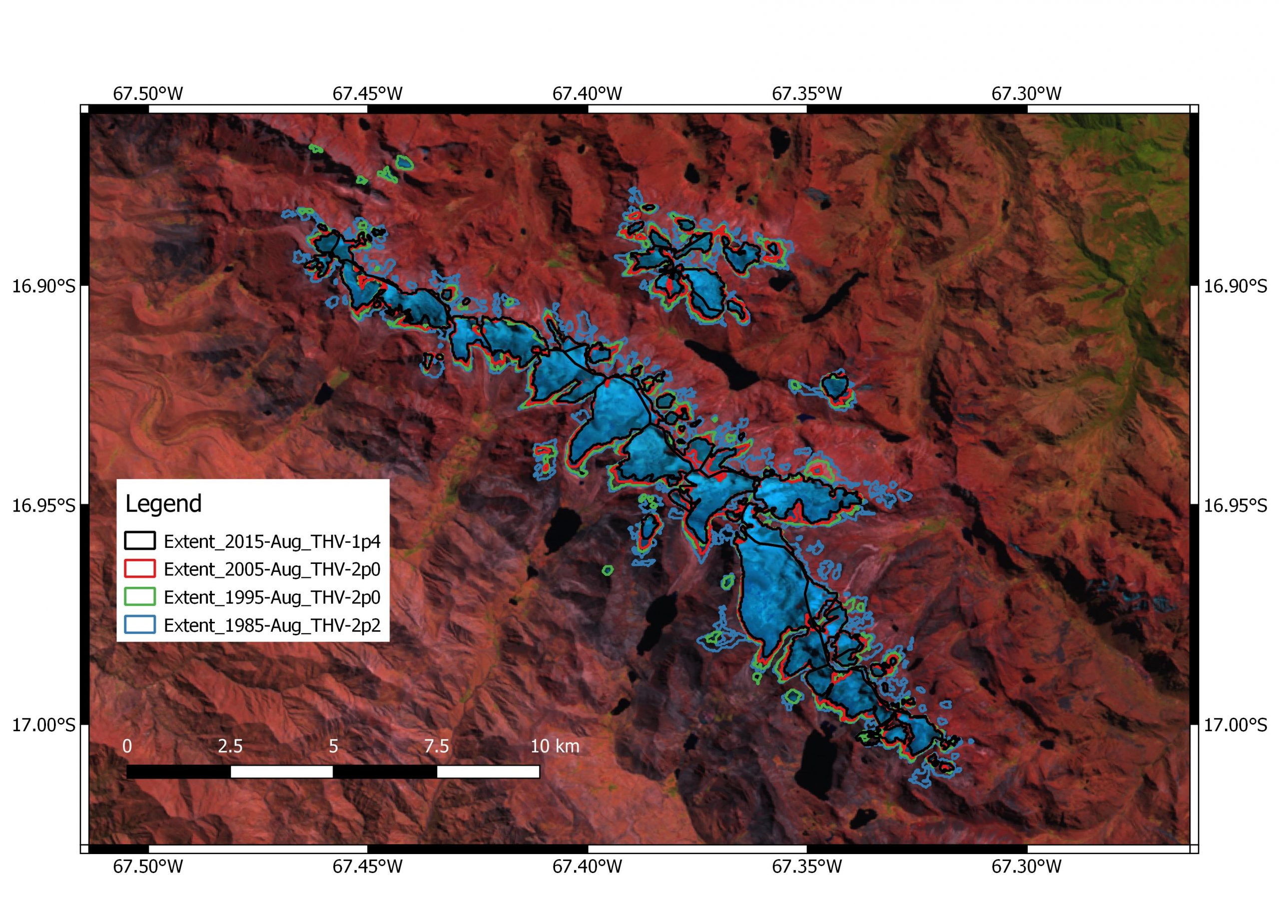 Figure 11: End-result glacier extent (1985) after image processing.