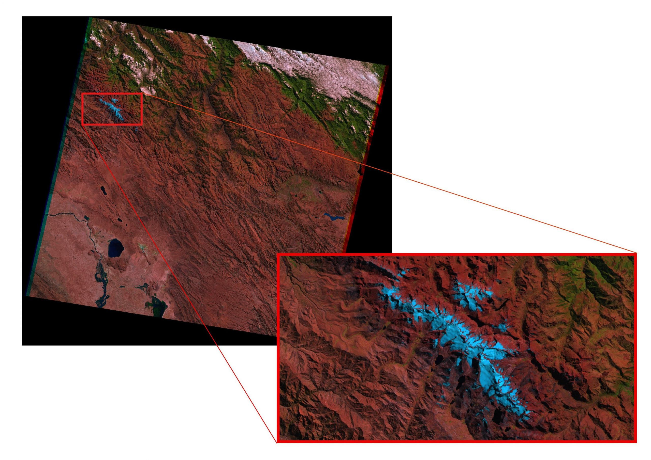 Figure 3: Our ROI is the mountain range of Cordillera Quimsa Cruz and needs to be clipped out of the downloaded satellite images for better visualization.