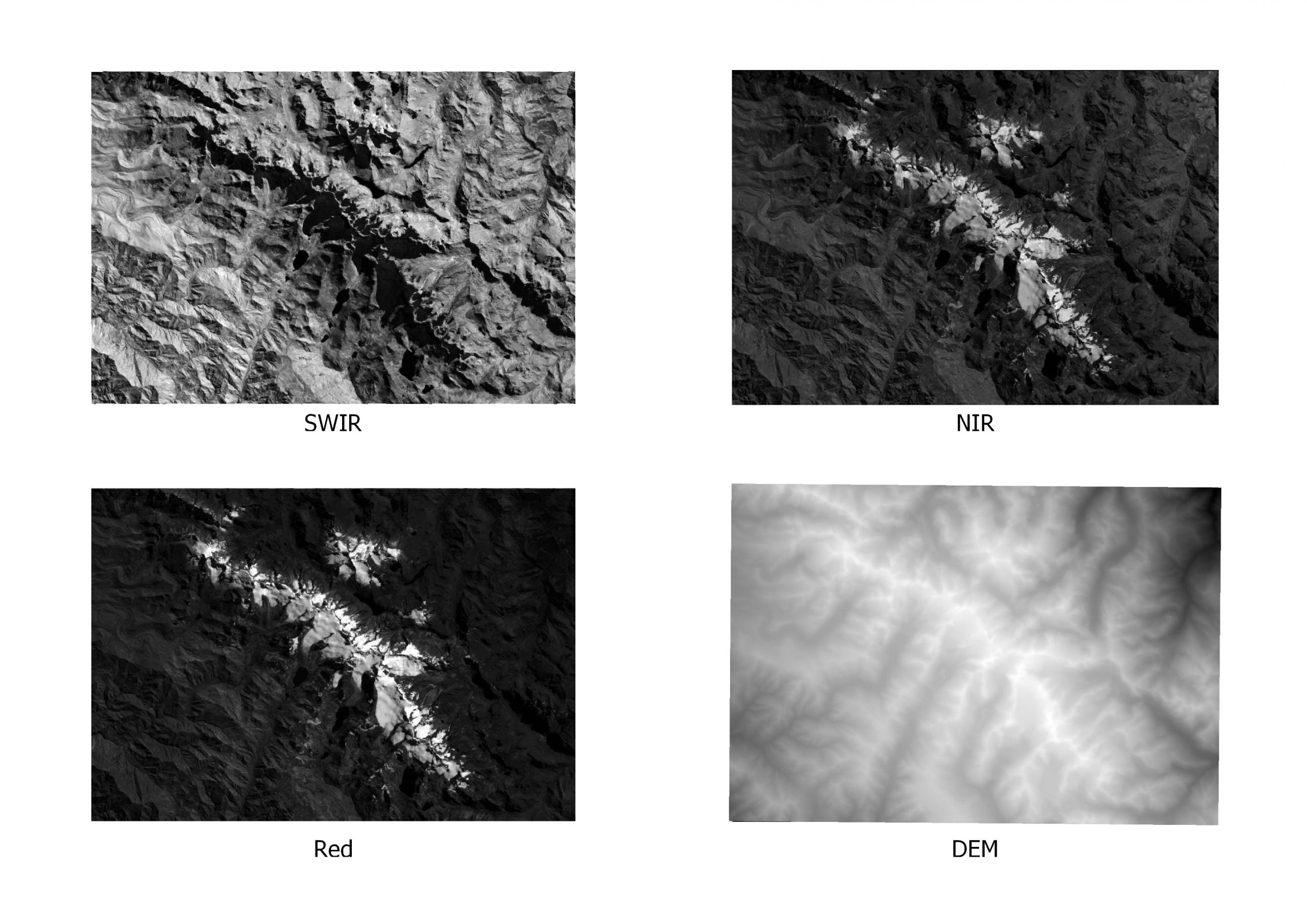 Figure 4: The images of ROI of the bands SWIR, NIR (top left, top right), Red, and DEM (bottom left, bottom right) after clipping.