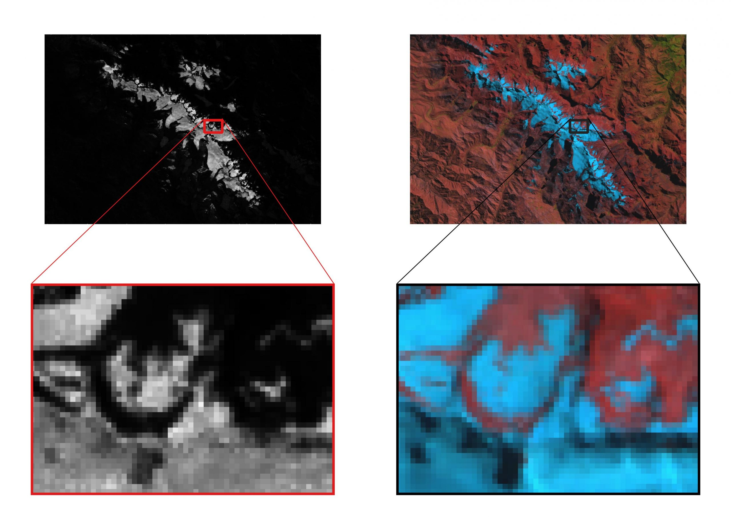 Figure 6: Zoomed section of the ratio image (3 by 5) focusing on an edge of the glacier with a simultaneous view of the false-colour image.