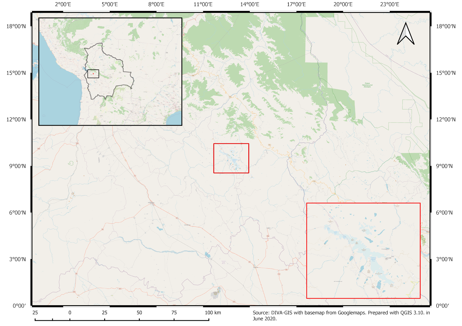 Figure 1: Mountain range of Cordillera Quimsa Cruz (in red square) located in Bolivia.